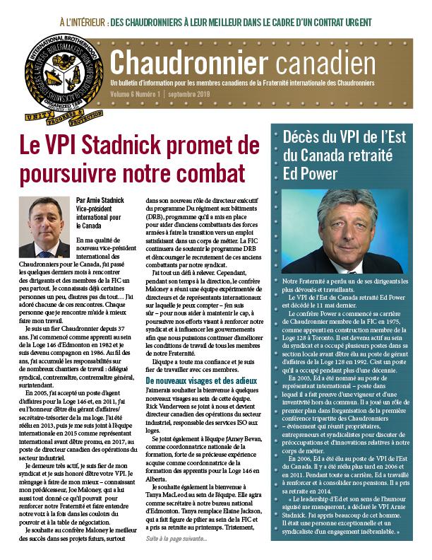 Le Chaudronnier canadien bulletin national - Septembre 2019